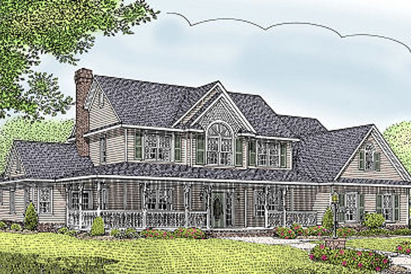 Country Style House Plan - 4 Beds 2.5 Baths 2984 Sq/Ft Plan #11-230 Exterior - Front Elevation