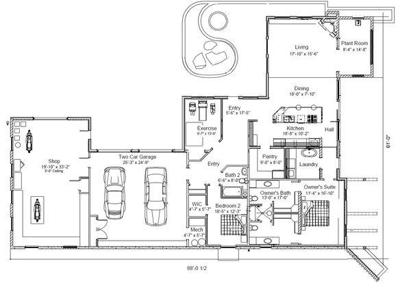 Modern Floor Plan - Main Floor Plan #451-18