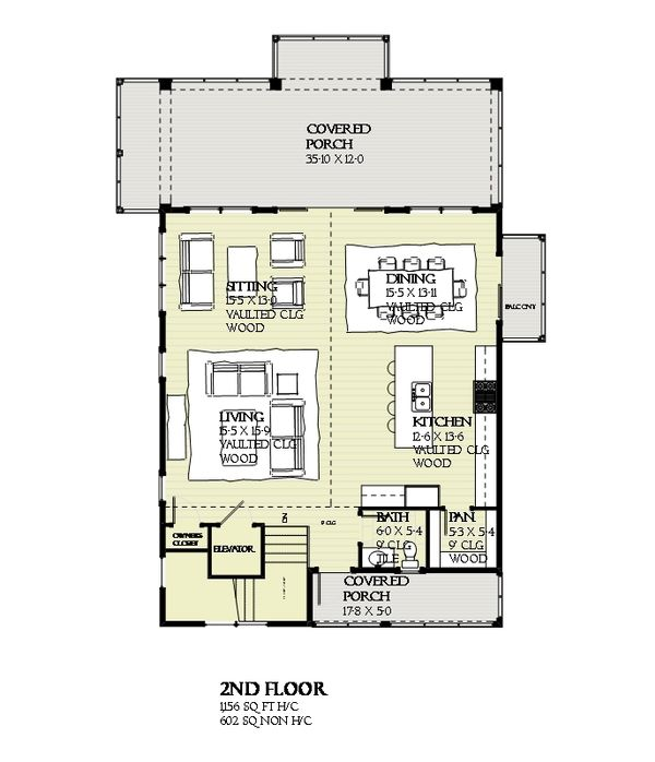 Beach Style House Plan - 4 Beds 2.5 Baths 2593 Sq/Ft Plan #901-118 Floor Plan - Upper Floor Plan