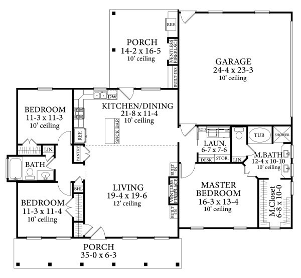 Dream House Plan - Cottage Floor Plan - Main Floor Plan #406-9662