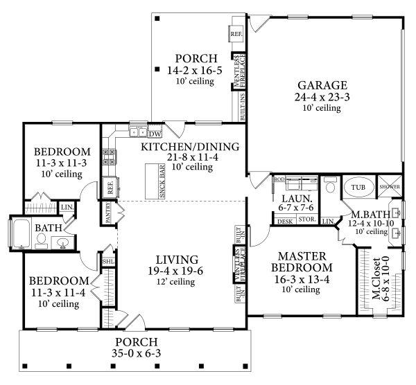 Home Plan - Cottage Floor Plan - Main Floor Plan #406-9662