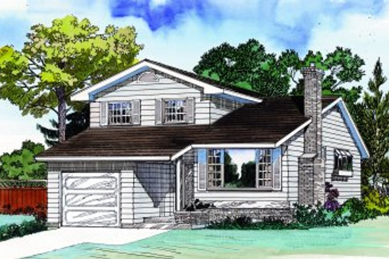 Traditional Style House Plan - 3 Beds 2.5 Baths 1581 Sq/Ft Plan #47-628 Exterior - Front Elevation