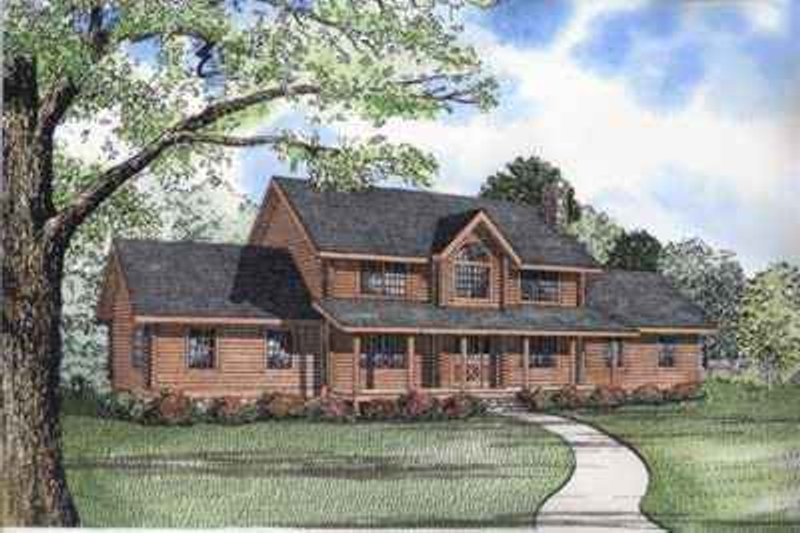Log Style House Plan - 5 Beds 3.5 Baths 2588 Sq/Ft Plan #17-478 Exterior - Front Elevation