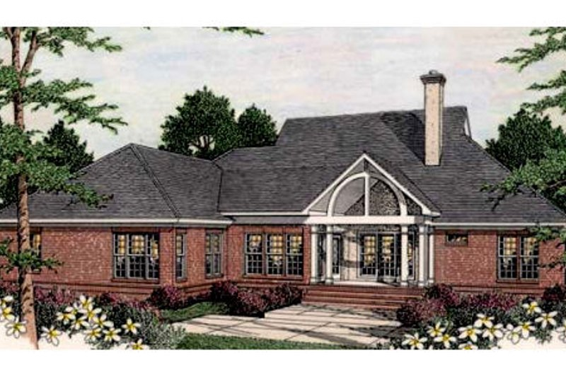 Southern Exterior - Rear Elevation Plan #406-112 - Houseplans.com