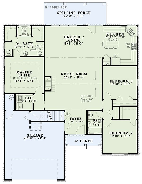 European Style House Plan - 3 Beds 2 Baths 1711 Sq/Ft Plan #17-2483 Floor Plan - Main Floor Plan