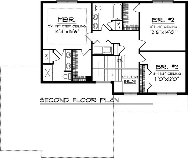 Ranch Floor Plan - Upper Floor Plan Plan #70-1099
