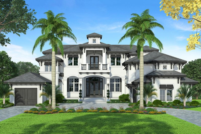 Mediterranean Style House Plan - 4 Beds 5 Baths 9430 Sq/Ft Plan #27-542 Exterior - Front Elevation