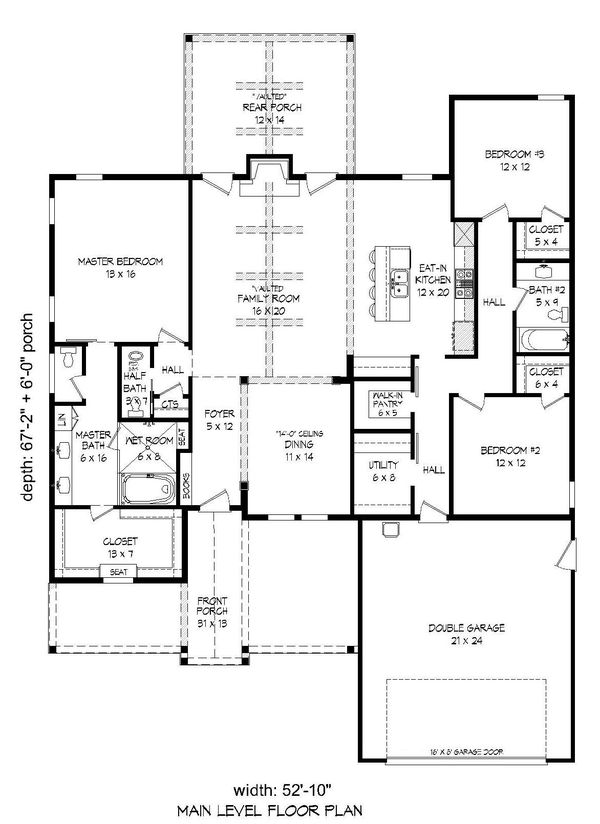 Craftsman Floor Plan - Main Floor Plan Plan #932-275