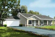 Mediterranean Style House Plan - 3 Beds 2 Baths 1977 Sq/Ft Plan #1-1393 Exterior - Front Elevation