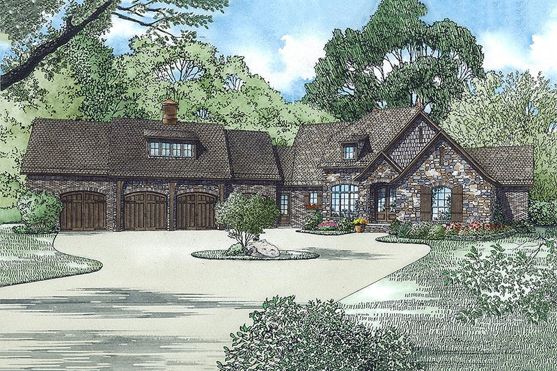 European Style House Plan - 3 Beds 4.5 Baths 3815 Sq/Ft Plan #17-2554 Exterior - Front Elevation