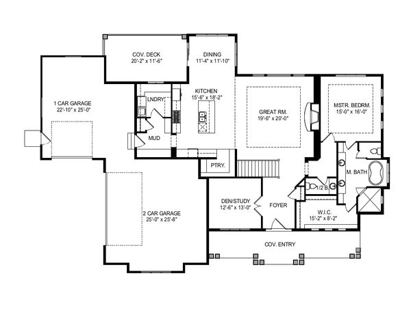 Craftsman Floor Plan - Main Floor Plan Plan #920-124