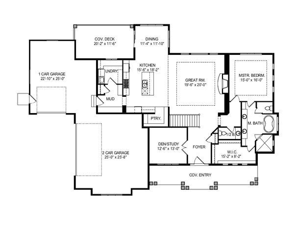 Architectural House Design - Craftsman Floor Plan - Main Floor Plan #920-124