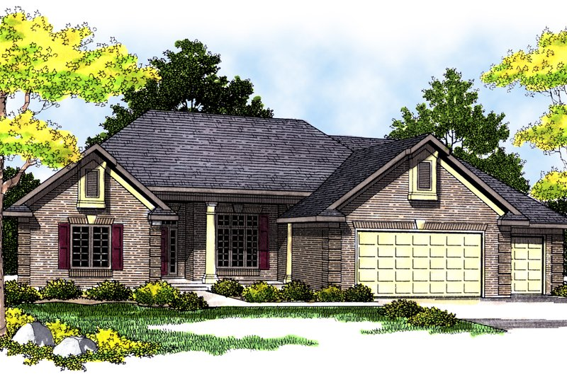 Traditional Exterior - Front Elevation Plan #70-384 - Houseplans.com