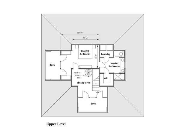 Southern Floor Plan - Upper Floor Plan Plan #481-12