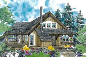 Country Exterior - Front Elevation Plan #970-4