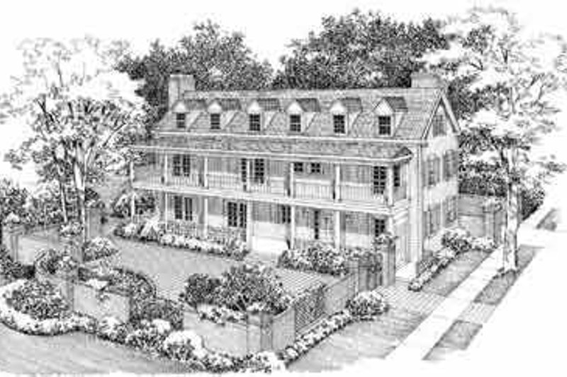 House Blueprint - Southern Exterior - Front Elevation Plan #72-357
