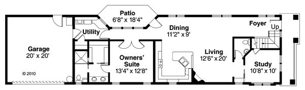 Contemporary Floor Plan - Main Floor Plan Plan #124-875