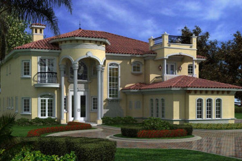 Mediterranean Style House Plan - 6 Beds 7.5 Baths 6784 Sq/Ft Plan #420-248 Exterior - Front Elevation