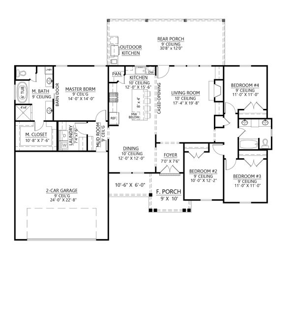 Architectural House Design - Farmhouse Floor Plan - Main Floor Plan #1074-28
