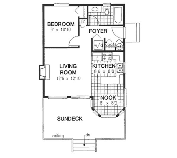 Cottage Style House Plan - 1 Beds 1 Baths 591 Sq/Ft Plan #18-163 Floor Plan - Main Floor Plan