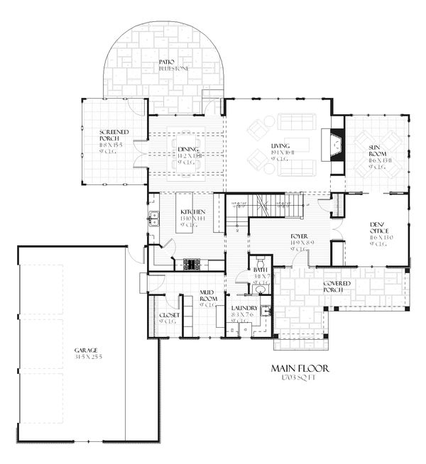 Country Floor Plan - Main Floor Plan Plan #901-101