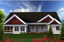 House Design - Ranch Exterior - Rear Elevation Plan #70-1167