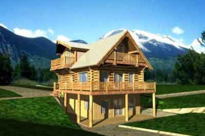 Dream House Plan - Log Exterior - Front Elevation Plan #117-107