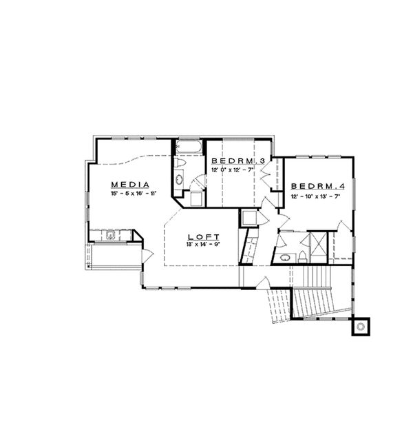 Contemporary Floor Plan - Upper Floor Plan Plan #935-5