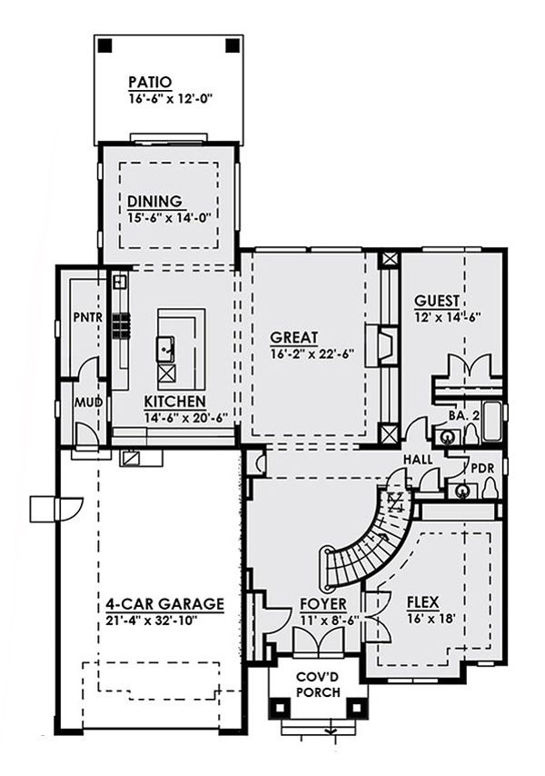 Contemporary Floor Plan - Main Floor Plan Plan #1066-17
