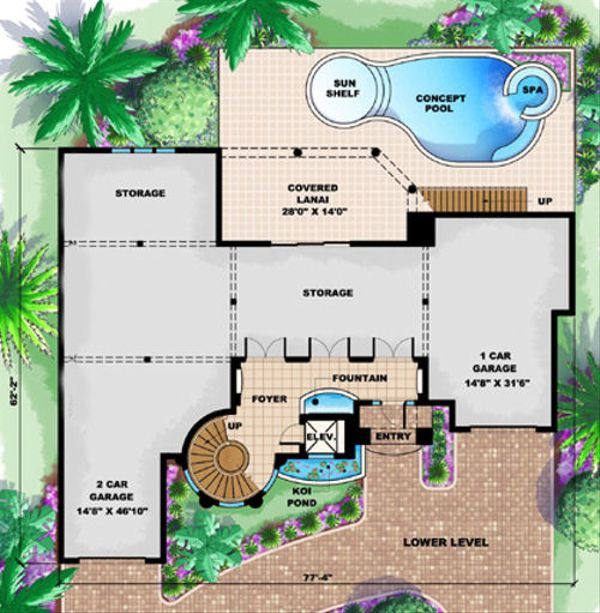 Mediterranean Floor Plan - Lower Floor Plan Plan #27-397