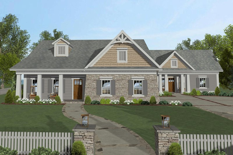Craftsman Exterior - Front Elevation Plan #56-705