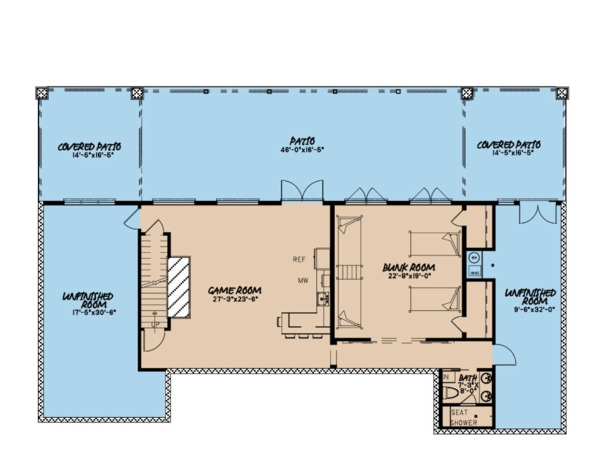 Ranch Floor Plan - Lower Floor Plan Plan #923-88