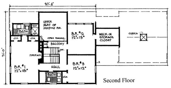 Colonial Floor Plan - Upper Floor Plan Plan #315-101