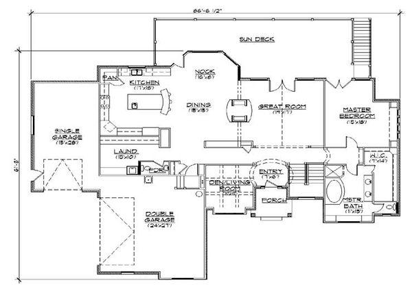 House Plan Design - European Floor Plan - Main Floor Plan #5-356