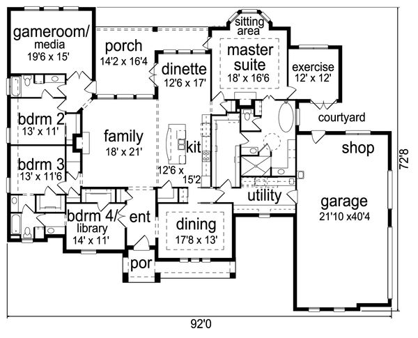 European Floor Plan - Main Floor Plan Plan #84-612