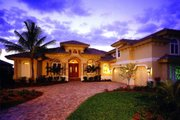 Mediterranean Style House Plan - 3 Beds 3.5 Baths 4000 Sq/Ft Plan #27-265 Exterior - Front Elevation
