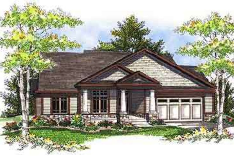 Ranch Style House Plan - 3 Beds 2 Baths 1844 Sq/Ft Plan #70-681 Exterior - Front Elevation