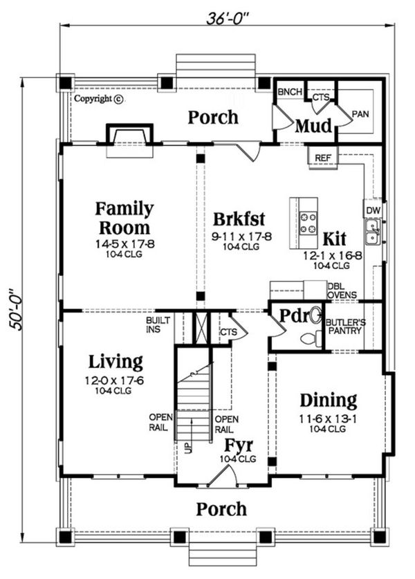 Bungalow Floor Plan - Main Floor Plan Plan #419-275