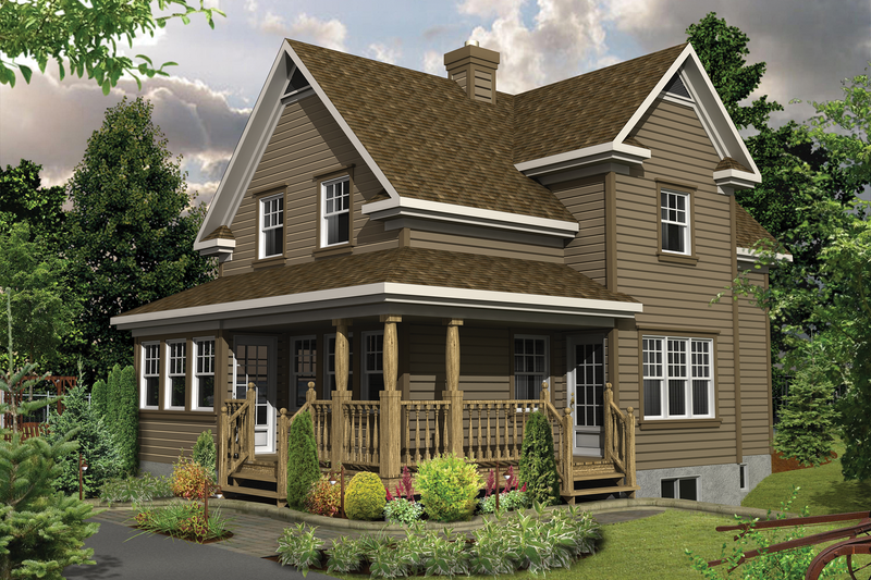 Country Style House Plan - 2 Beds 1 Baths 1673 Sq/Ft Plan #25-4479 Exterior - Front Elevation