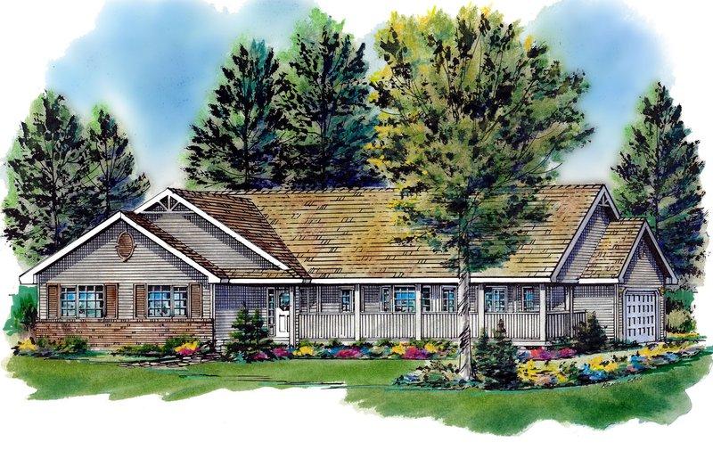 House Blueprint - Ranch Exterior - Front Elevation Plan #18-198