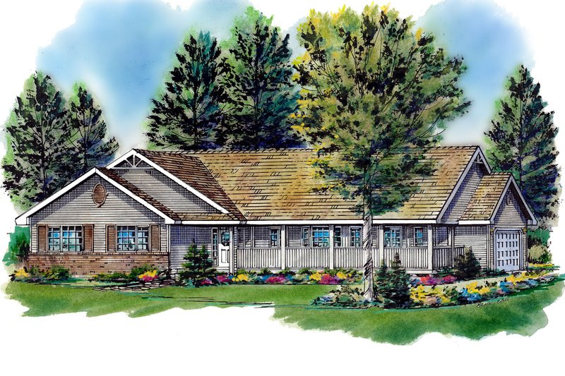 Ranch Style House Plan - 3 Beds 2 Baths 1463 Sq/Ft Plan #18-198 Exterior - Front Elevation