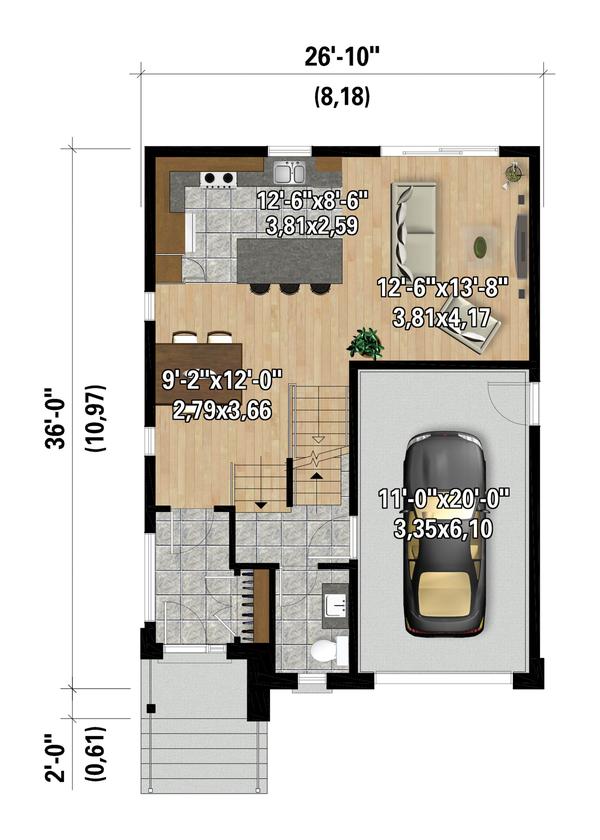 Contemporary Floor Plan - Main Floor Plan #25-4873