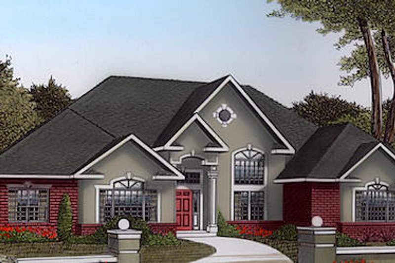 Traditional Style House Plan - 3 Beds 2.5 Baths 2836 Sq/Ft Plan #11-116 Exterior - Front Elevation