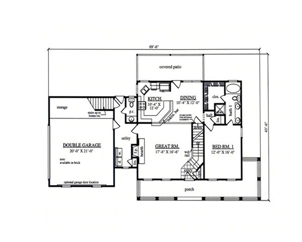 Country Floor Plan - Main Floor Plan Plan #42-369