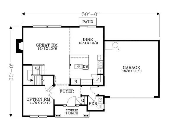 Craftsman Floor Plan - Main Floor Plan Plan #53-483