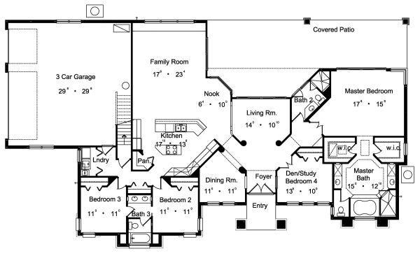 European Floor Plan - Main Floor Plan Plan #417-379