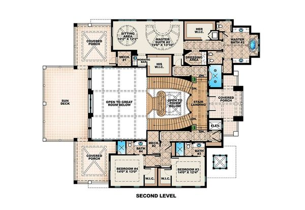 Beach Floor Plan - Upper Floor Plan #27-488