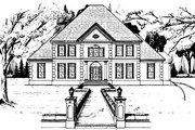 European Style House Plan - 5 Beds 3.5 Baths 4584 Sq/Ft Plan #37-223 Exterior - Front Elevation