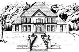 European Exterior - Front Elevation Plan #37-223