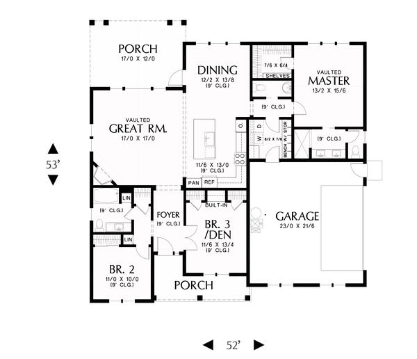 Dream House Plan - Farmhouse Floor Plan - Main Floor Plan #48-985